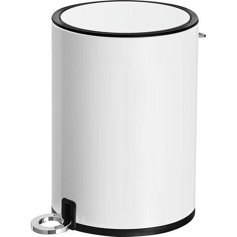 Cubo de Basura para Interior, Basurero con Pedal 3L, con Tapa ABS y cubeta de plástico, Acero, para Baño, Oficina y Dormitorio LTB11WT