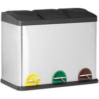 Cubo de Basura Reciclaje 54 L con 3 Compartimentos, Acero Inoxidable, Plateado, 56 x 60 x 32 cm