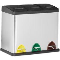 Cubo de Basura Reciclaje con 3 Compartimentos, Acero Inoxidable, Plateado, 40 x 48 x 28 cm