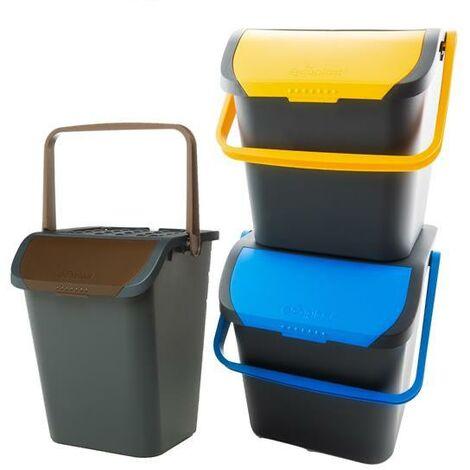 Cubo de basura selectiva 35 litros pack 3 colores