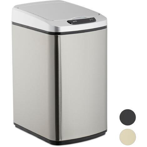 Cubo de basura, Sensor de apertura, Contenedor rectangular, Para baño & cocina, 12 L, 1 Ud., Plateado