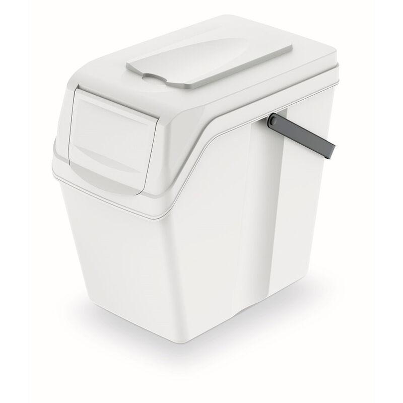 Cubo de reciclaje 25L Prosperplast Sortibox de plastico con tapa en color blanco 40,2 largo x 24 ancho x 37,7 alto cm