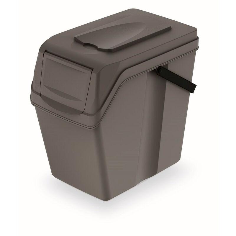 Cubo de reciclaje 25L Sortibox de plastico con tapa en color gris 40,2 largo x 24 ancho x 37,7 alto cm - Prosperplast