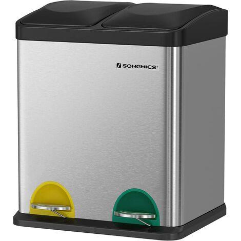 Cubo de Reciclaje, Residuos de 30 Litros, 2 Cubos de Basura de 15 Litros, con Cubos Internos, Pedales Codificados por Colores, para la Cocina, Sala de Estar