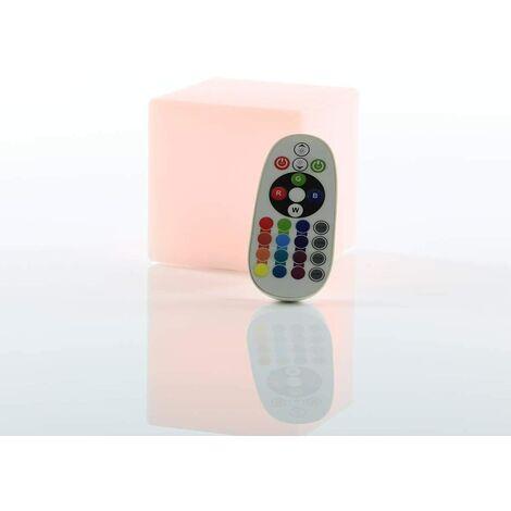 Cubo LED 10 x 10 x 10 cm cubo de luz / lámpara de mesa 16 colores cambiantes de color / luz ambiental RGB-LED regulable con batería, control remoto y cargador