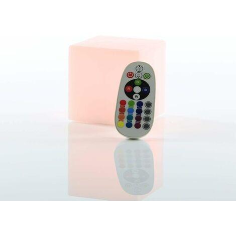 """main image of """"Cubo LED 10 x 10 x 10 cm cubo luminoso / lampada da tavolo 16 colori cambia colore / luce d'atmosfera LED RGB regolabile con batteria, telecomando e caricatore"""""""