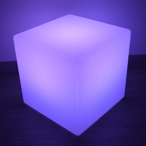 Cubo LED luminoso RGBW RESINA BLANCA, 40CM. 5W, IP65,Recargable