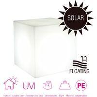 Cubo luminoso 20 cm jardín, carga solar, automático, LED luz blanca, flotante.