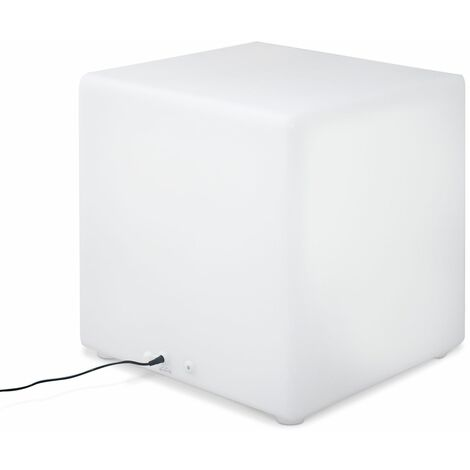 Cubo luminoso LED multicolor recargable sin cables para exterior - 16 colores - CUBO LED 40cm - Blanco