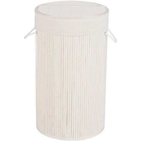 Cubo para la ropa sucia Bamboo redondo blanco WENKO
