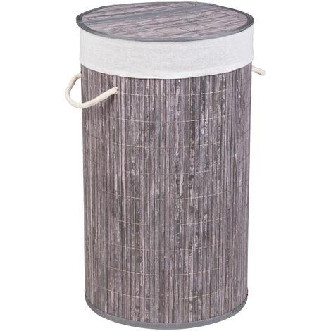 Cubo para la ropa sucia Bamboo redondo gris WENKO