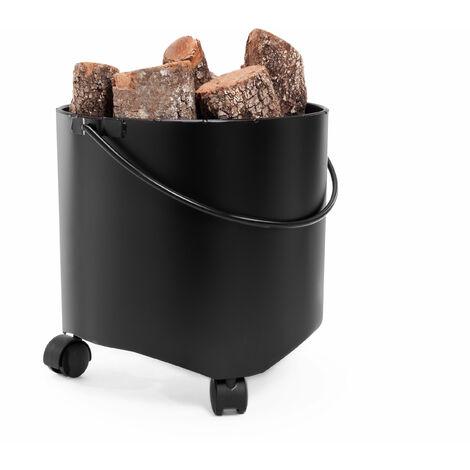 Cubo portaleña con ruedas fabricado en acero EFP15