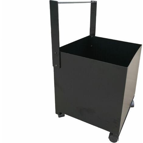 Cubo portaleña de acero color negro con ruedas y asa de transporte EFP19