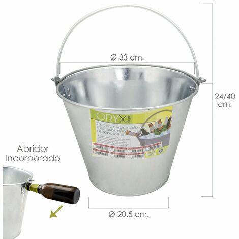 """main image of """"Cubo Zinc Metal Galvanizado Multiusos 12 Litros 33 x 20.5 x 24 (alt.) cm. con Abre Botellas"""""""