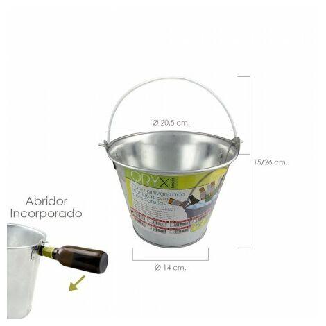 """main image of """"Cubo zinc metal galvanizado multiusos 4 litros 20.5 x 18 x 15.5 (alt.) cm. con abre botellas"""""""