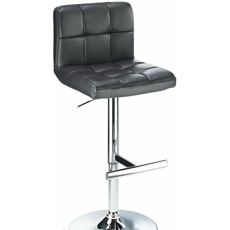Cuborn Black Bar Stool Faux Leather Seat And Back Black