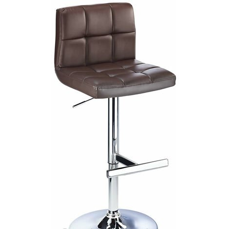 Cuborn Brown Bar Stool Faux Leather Seat And Back Brown