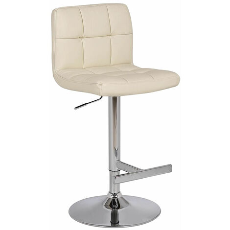 Cuborn Cream Bar Stool Faux Leather Seat And Back Cream