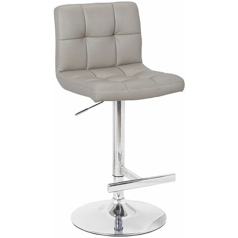 Cuborn Grey Bar Stool Faux Leather Seat And Back Grey