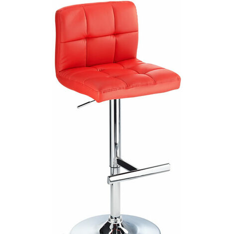 Cuborn Red Bar Stool Faux Leather Seat And Back Red