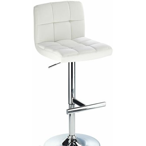 Cuborn White Bar Stool Faux Leather Seat And Back White