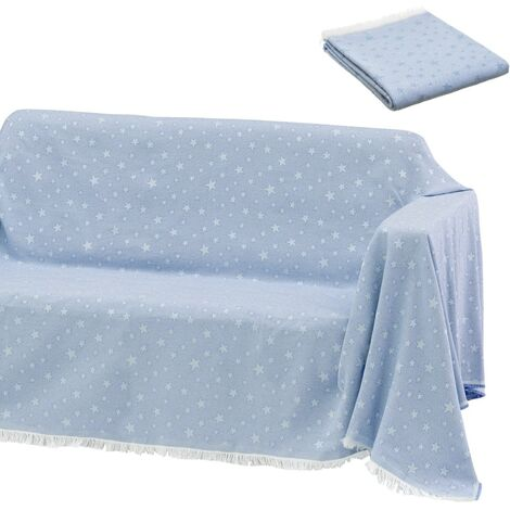 Cubre sofá azul de algodón y poliéster de 290x180 cm