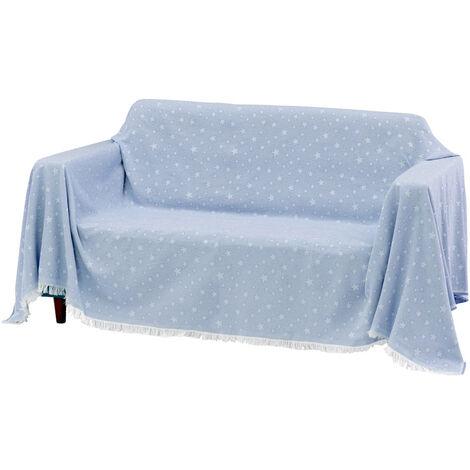 Cubre sofá azul de algodón y poliéster de 290x230 cm