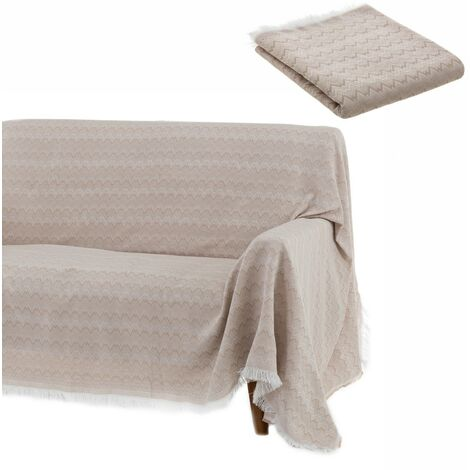 Cubre sofá beige clásico de algodón y poliéster de 290x180 cm