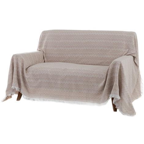 Cubre sofá beige clásico de algodón y poliéster de 290x230 cm