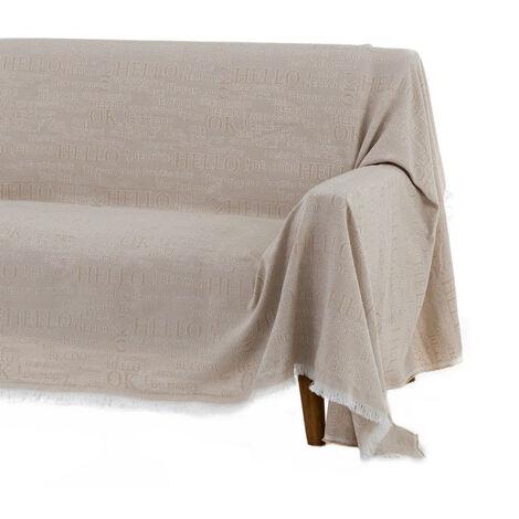 Cubre sofá beige de algodón y poliéster de 290x180 cm