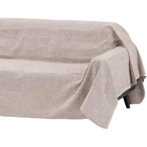 Cubre sofá beige multiusos de algodón y poliéster de 180x220 cm