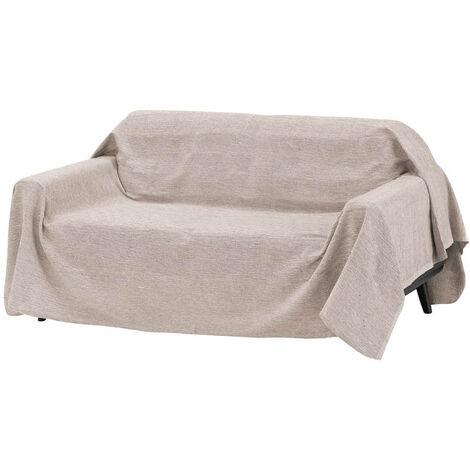 Cubre sofá beige multiusos de algodón y poliéster de 220x240 cm
