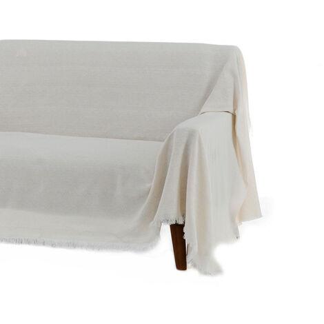 Cubre sofá blanco clásico de algodón y poliéster de 290x180cm