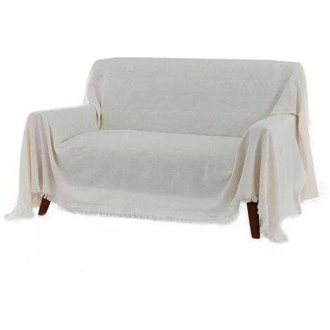 Cubre sofá blanco clásico de algodón y poliéster de 290x230cm