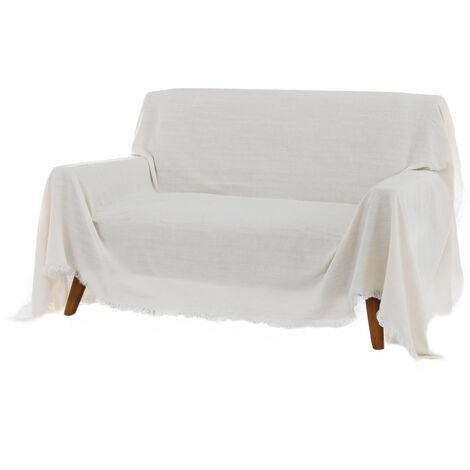 Cubre sofá blanco de algodón y poliéster de 290x230 cm