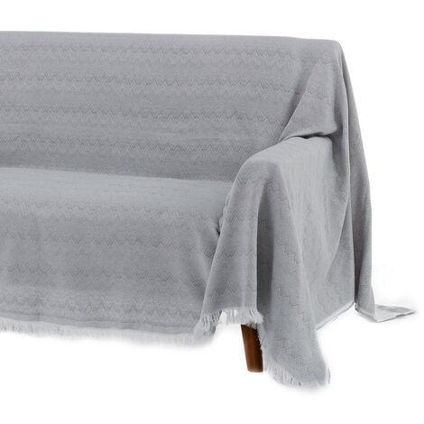Cubre sofá gris clásico de algodón y poliéster de 290x180 cm