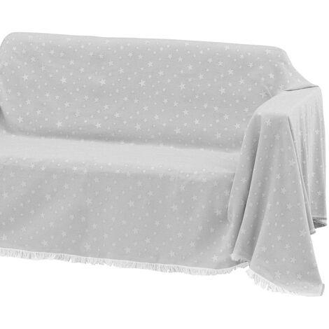 Cubre sofá gris de algodón y poliéster de 290x180 cm