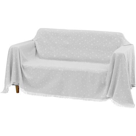 Cubre sofá gris de algodón y poliéster de 290x230 cm