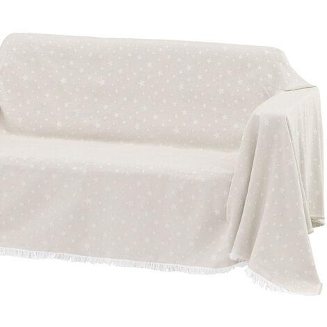 Cubre sofá marrón de algodón y poliéster de 290x180 cm