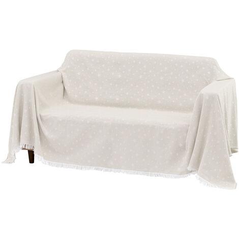 Cubre sofá marrón de algodón y poliéster de 290x230 cm