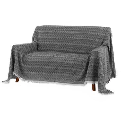 Cubre sofá negro clásico de algodón y poliéster de 290x230 cm