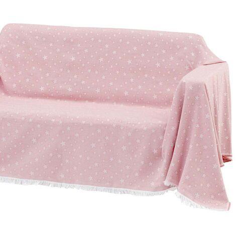 Cubre sofá rosa de algodón y poliéster de 290x180 cm