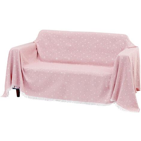 Cubre sofá rosa de algodón y poliéster de 290x230 cm