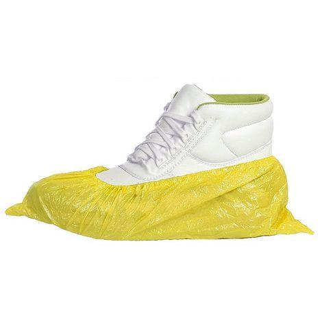 Cubre Zapatos Desechables de Polietileno Lisos y Elásticos Tobilleros (Amarillo) - 100 unidades