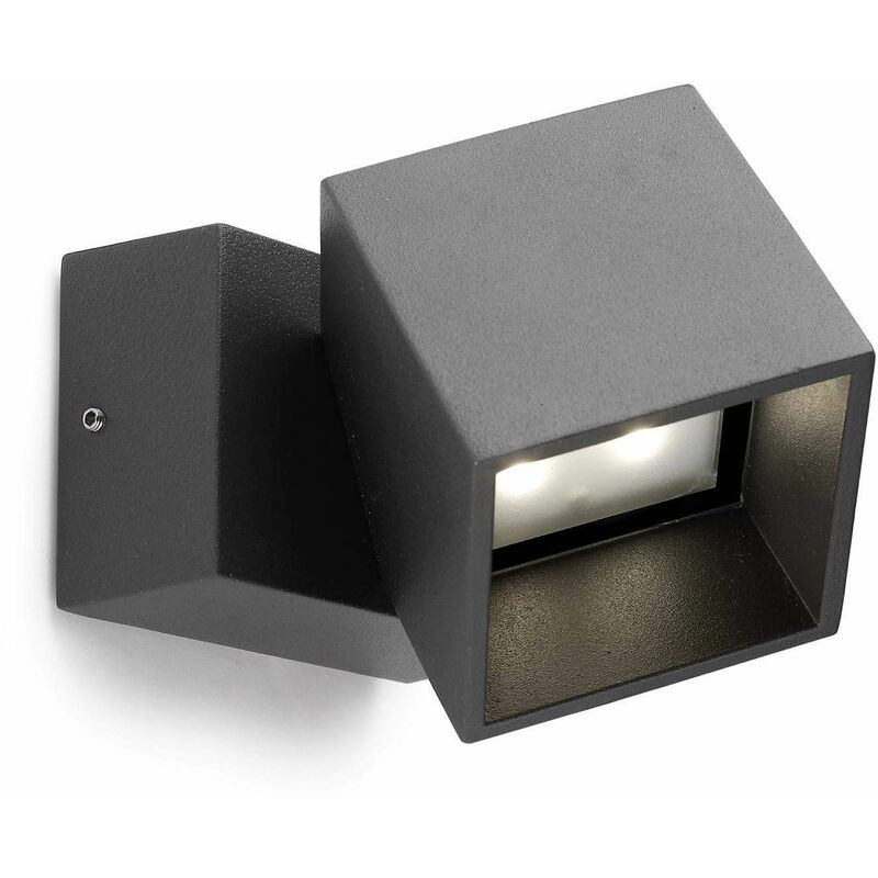 05-leds C4 - Cubus Wandleuchte, Aluminium und Glas, urban grau