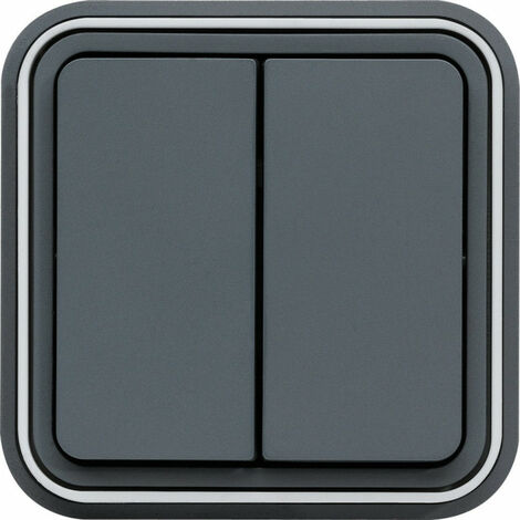 cubyko Double interrupteur va-et-vient encastré gris IP55 (WNE040)