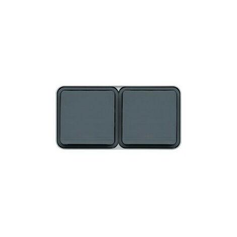 cubyko PC double hor. 2P+T saillie gris (WNC122)