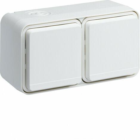 cubyko Prise double horizontale 2P+T saillie blanc IP55 (WNC122B)