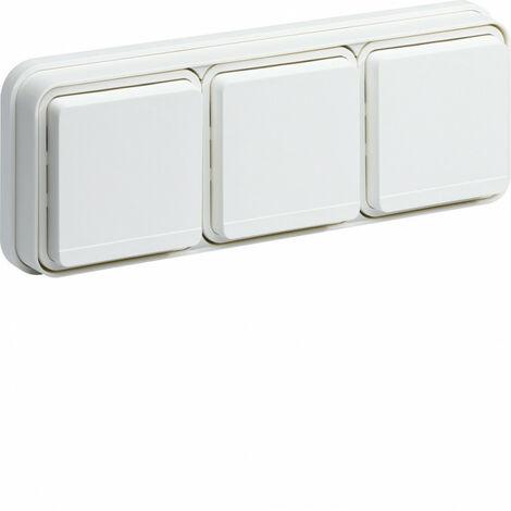 cubyko Prise triple horizontale 2P+T encastré blanc IP55 (WNE123B)