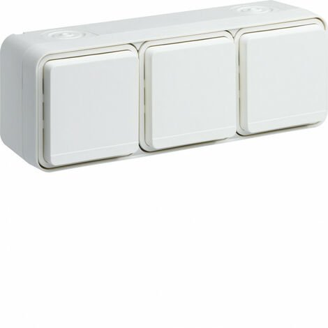 cubyko Prise triple horizontale 2P+T saillie blanc IP55 (WNC123B)